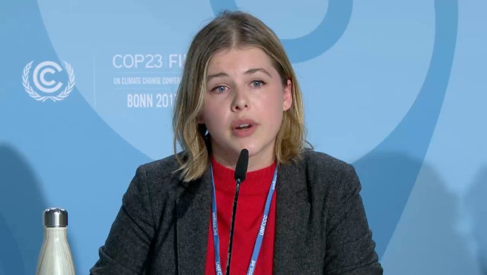 Helen speaking at COP23 in Bonn, Germany. Photo from Helen Watts.