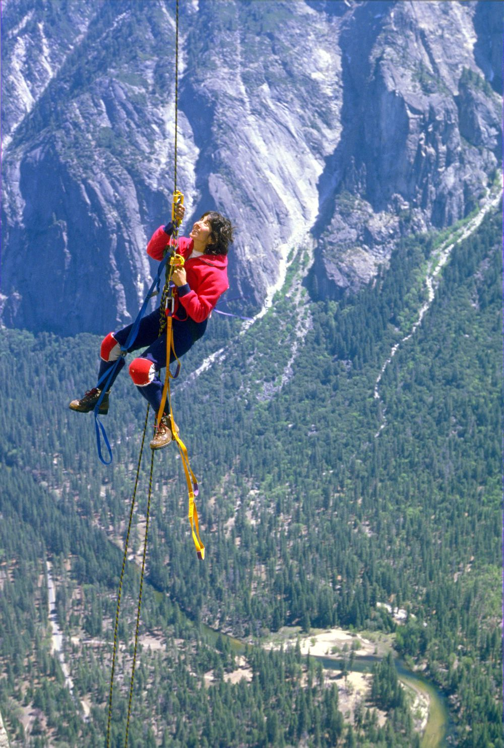 Karen jumars the last pitch of El Cap, late 1980s.