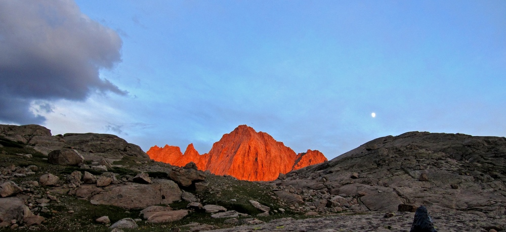 Alpenglow on Ellingwood Peak, from camp in Indian Basin.