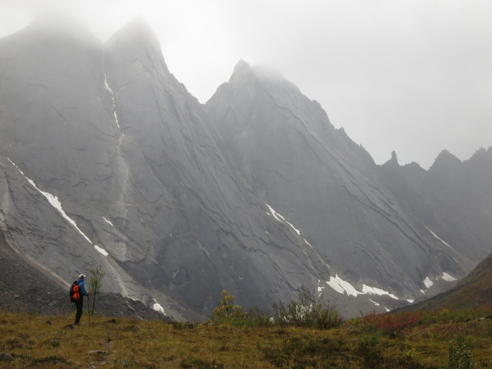 Don exploring the Arrigetch Peaks on a stormy day.  Photo: Alan Dixon.