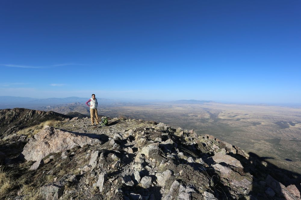 The summit of Mount Wrightson offers an expansive view of the many mountain ranges of southern Arizona and Northern Sonora, Mexico.  This view looks north, with the Rincon Mountains in the distance on the left of the photo.