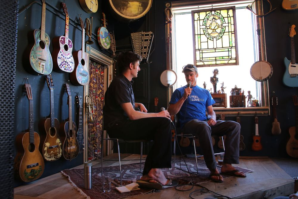 Fitz Cahall interviews Kyle Dempster for The Dirtbag Diaries at the 5 Point Film Festival in Carbondale, CO.