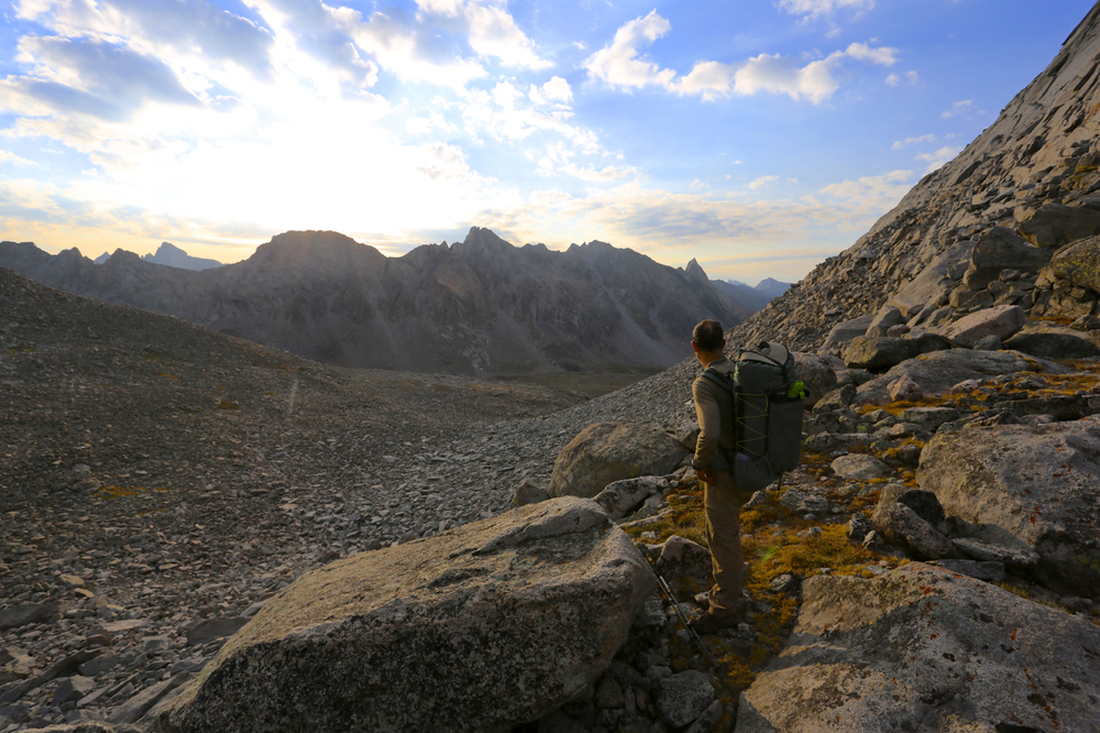 Alan looks into the East Fork Valley from the pass between Bonneville Peak and Raid Peak, on our recent Wind River High Route trip.