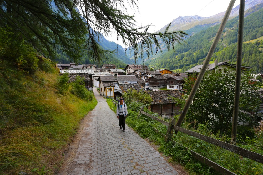 Karen climbs out of the pleasant village of Le Hauderes.