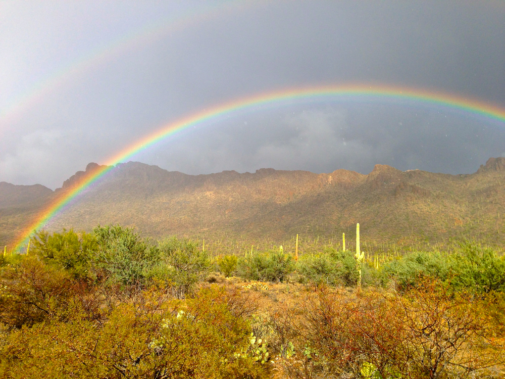 A double rainbow graces the Tucson Mountains after a winter storm.