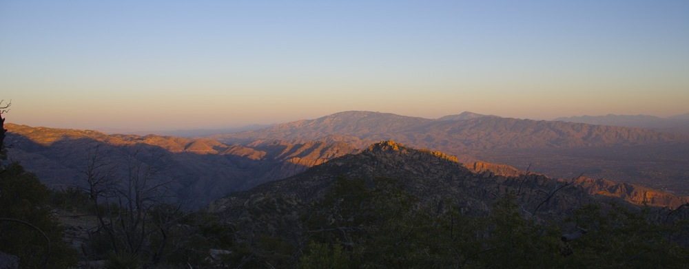 We camped on a ridge above the saddle that marks the high point of the Cathedral Rock Trail. A superb spot to watch the sunset or the night time lights of Tucson, 5500 feet below.