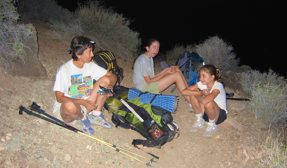 Karen, Megan and Amy enjoy a snack about 330 am on the Tonto Plateau.  The night hike and ensuing sunrise were a definite highlight of the trip.  We made it to Indian Gardens in the early morning, well before the heat became intense.