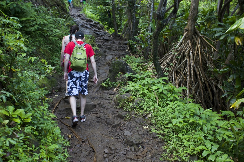 The initial two miles of trail climbs about 500 feet, offers some great views, then drops back down to Hanakapi'ai Beach. The Na Pali coast gets a lot of rain, so expect a lot of slippery walking and plenty of mud.  The mud is much worse on the two mile stretch from Hanakapi'ai Beach to the falls.