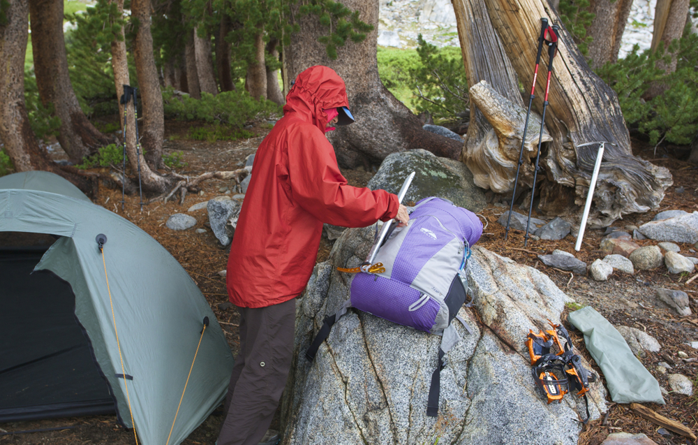 After three hours of hard rain while hiding in the tent, we packed up and headed for the upper plateaus.