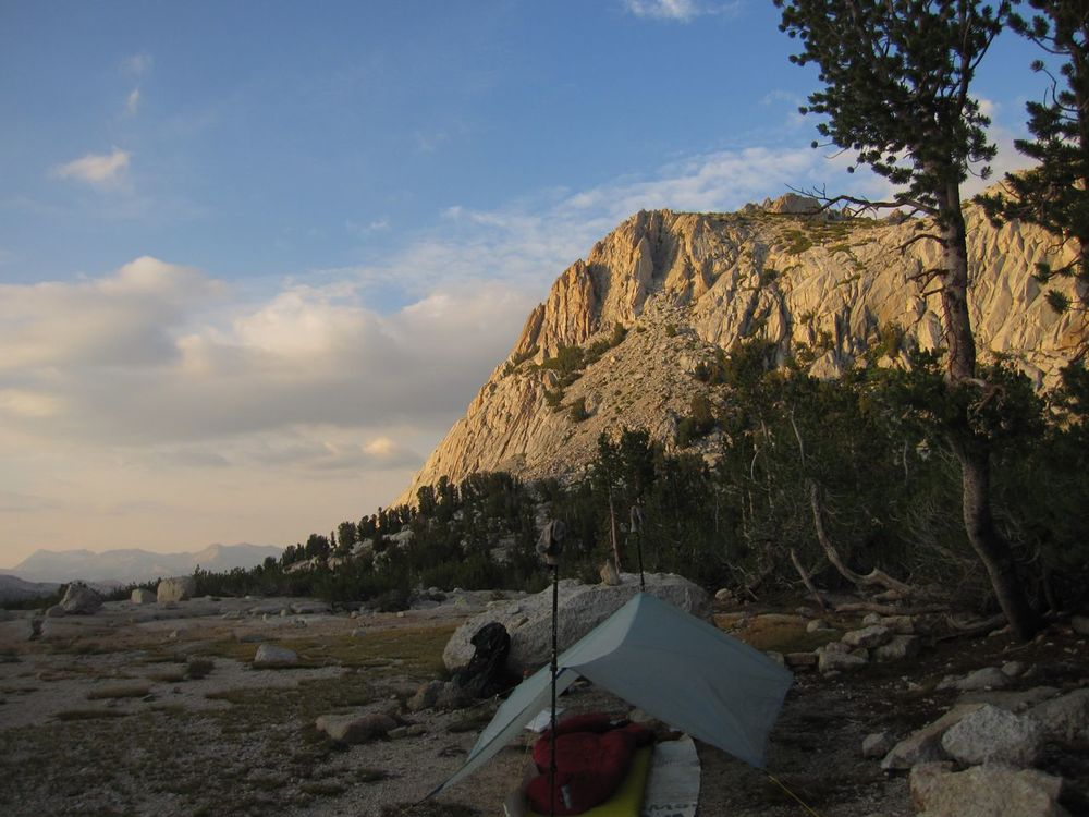 Camp near Vogelsang Lake, south of Tuolomne Meadows.