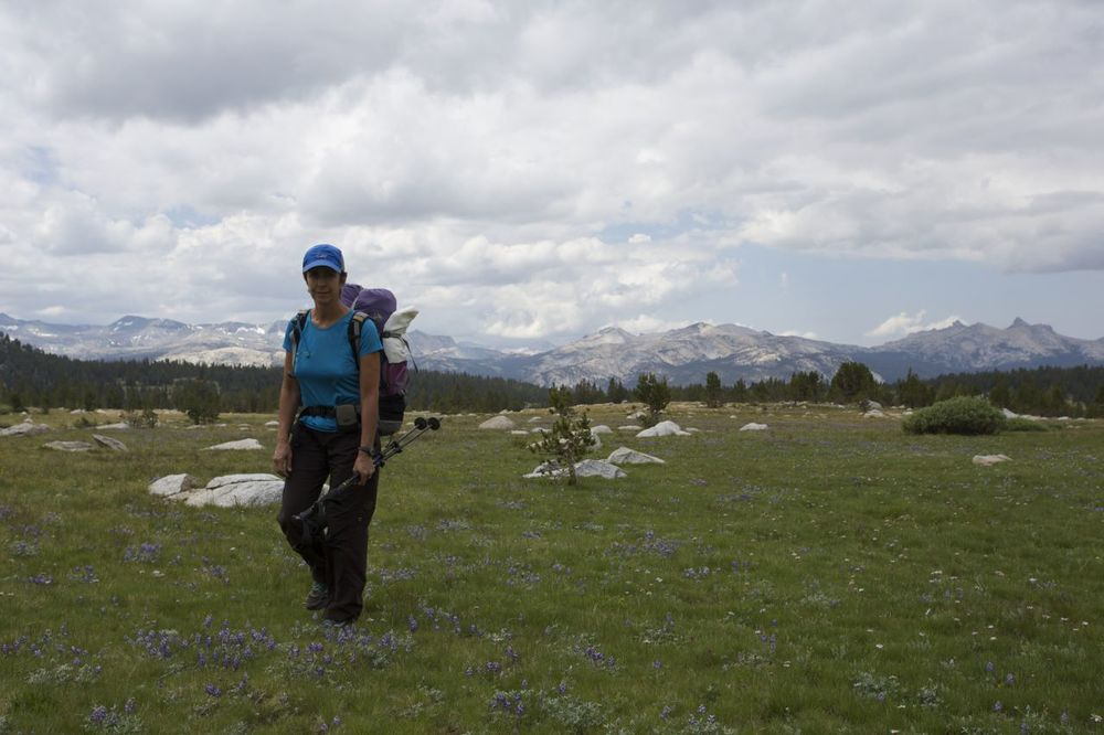 Karen above Gaylor Lakes, north of Tuolomne Meadows.
