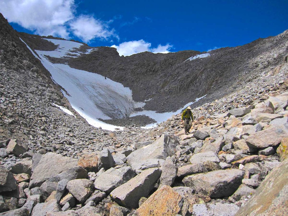 Descending from the summit of Mt. Sill. The route to the summit is the ridge behind Alan and continues up and to the right in this photo.