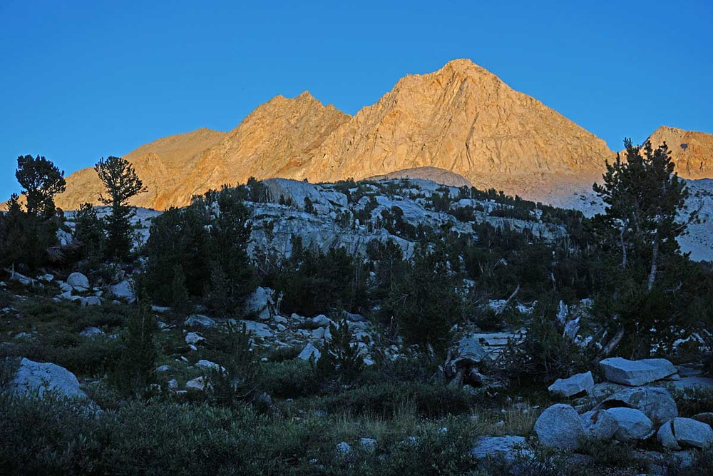Mount Bolton Brown at sunset, taken from near Palisade Lakes.