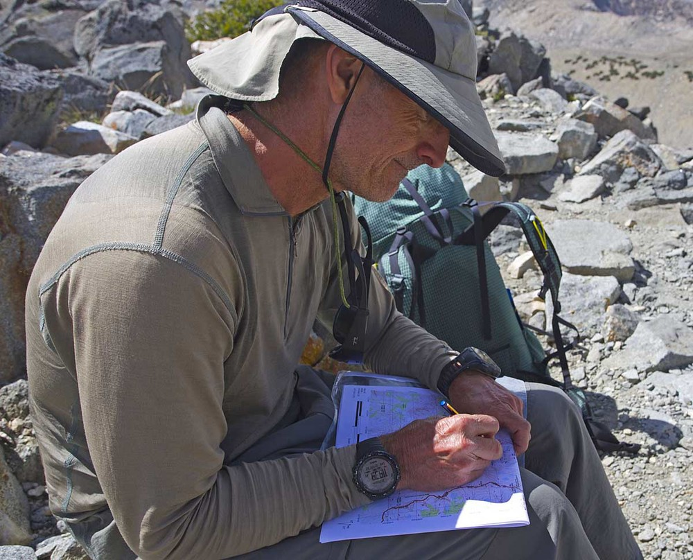 We logged trip route, mileages and stats with a SPOT Gen3 and a Garmin Forerunner 910XT. Alan wrote down mileages and elevation gain loss on our maps during the day.