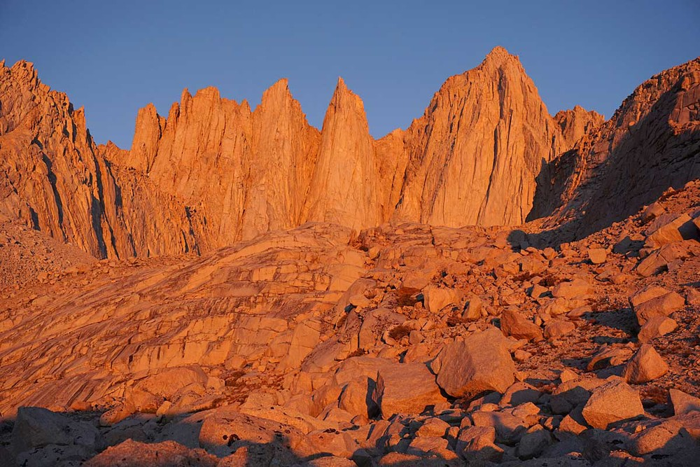 Morning light on the east face of Mount Whitney.  Keeler Needle rises in the center of the photo, left of Mount Whitney.