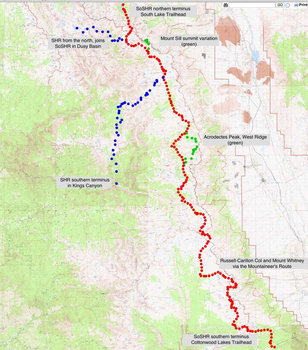 The Southern Sierra High Route follows high alpine terrain from South Lake trailhead in the north to Cottonwood Lakes in the south. The route continues south along the highest part of the Sierra where the Sierra High Route goes to lower elevation and terminates in Kings Canyon.  It can be hiked on its own from South Lake to Cottonwood Lakes as a 100 mile route, or appended onto the SHR to extend the SHR into a 270 mile long route.