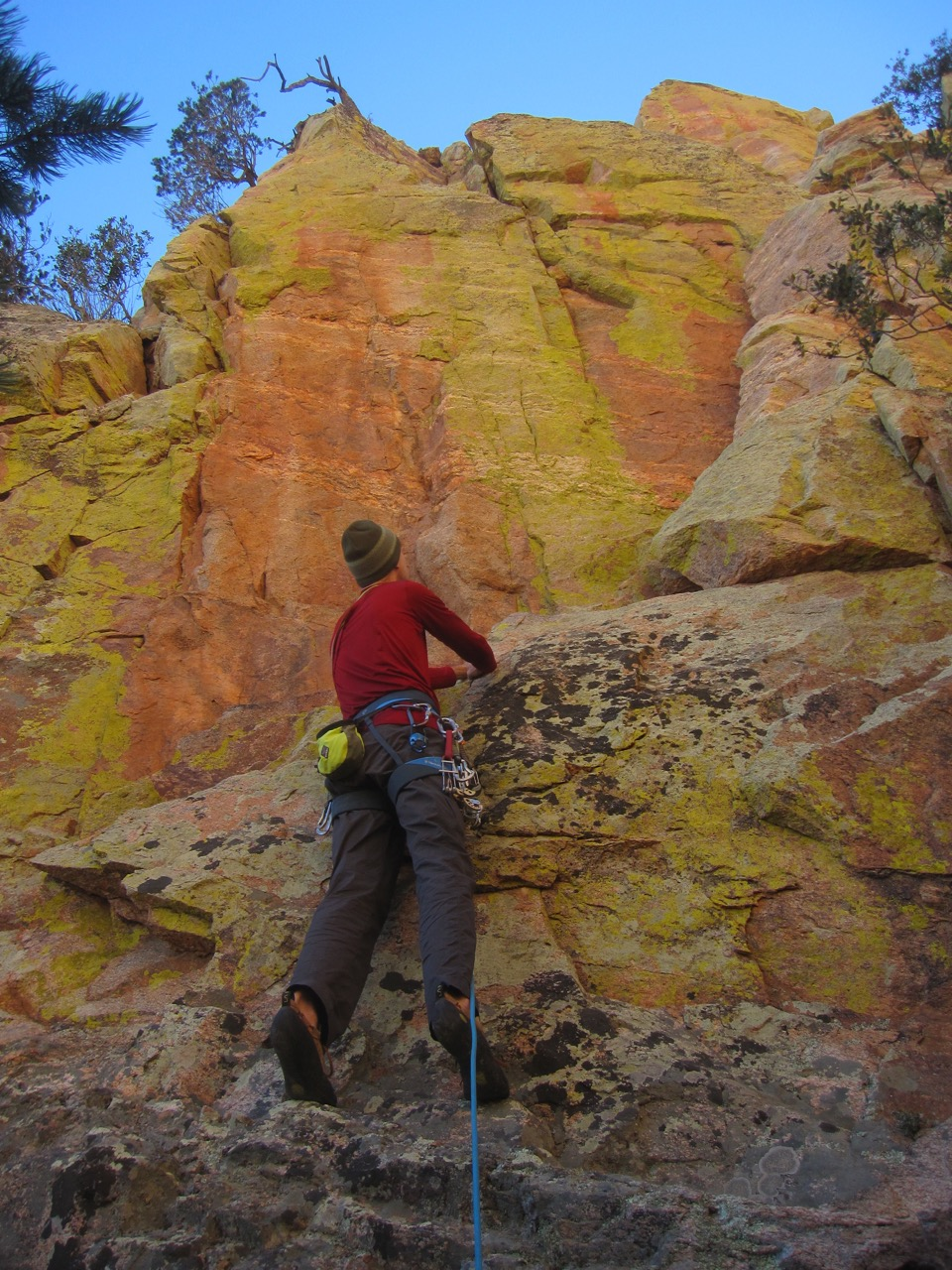 Looking up the first pitch.  The route ascends the obvious corner, and then traverses left to a ledge.