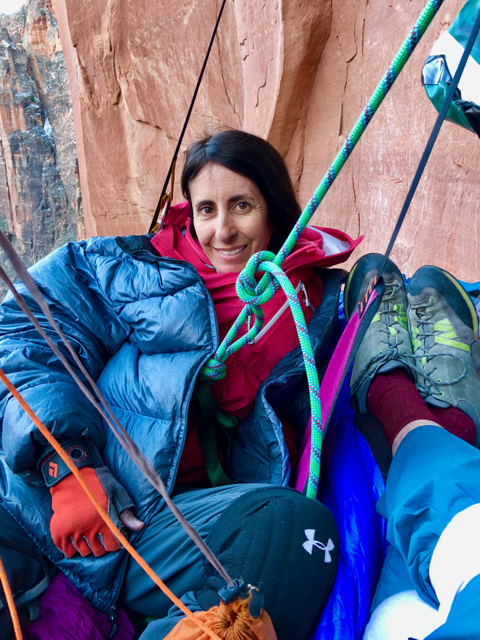 The nights were long and cold in early March.  Karen hanging out on the portaledge after a good first day.