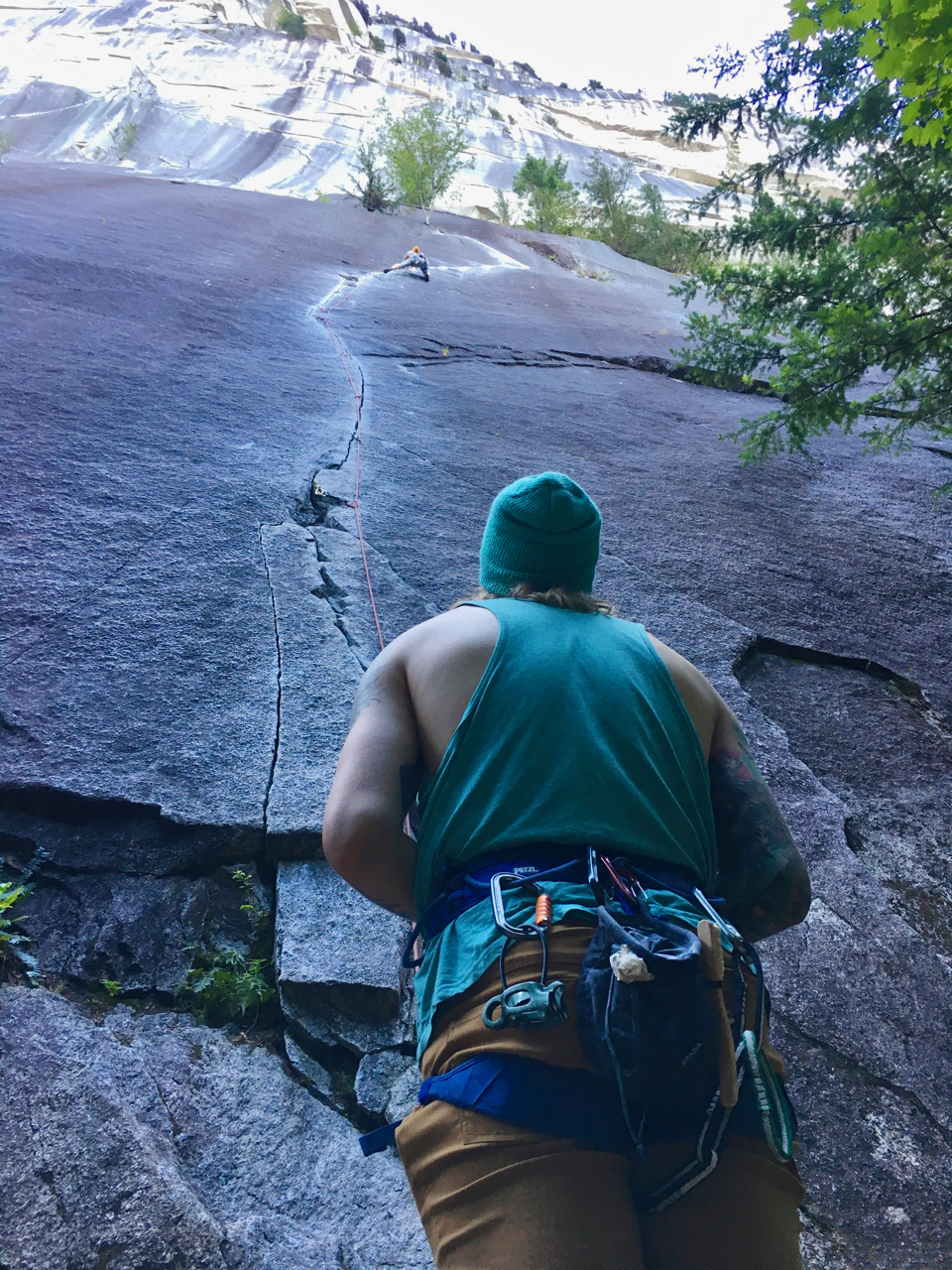 On Exasperator (5.10c), at the base of the Chief. 160 feet of perfect crack from thin fingers to thin hands. A belay mid way allows you to break this into two pitches, or rappel the route with a single 60m rope.