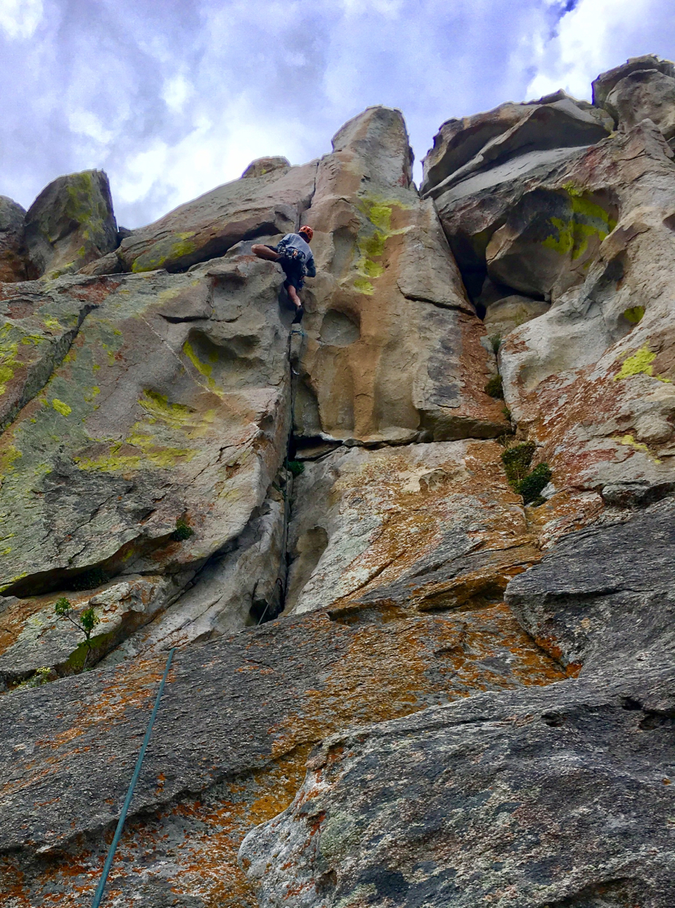 Don on the City of Rocks classic, Thin Slice (5.10a). This stellar route climbs steep, featured granite that is typical of City of Rocks. The route ends with a splitter finger crack.