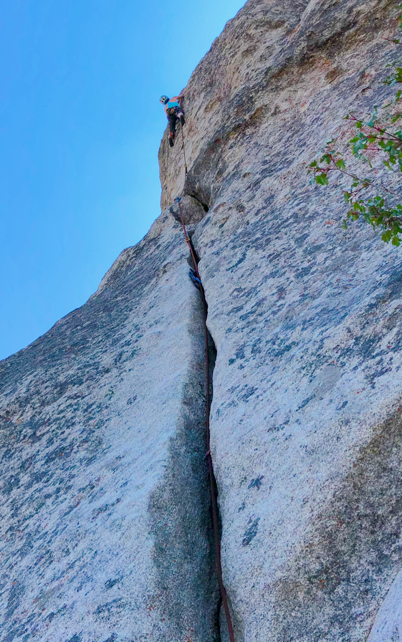 Karen on the fun route Conceptual Reality (5.9) at the Gallstone (near Elephant Rock).