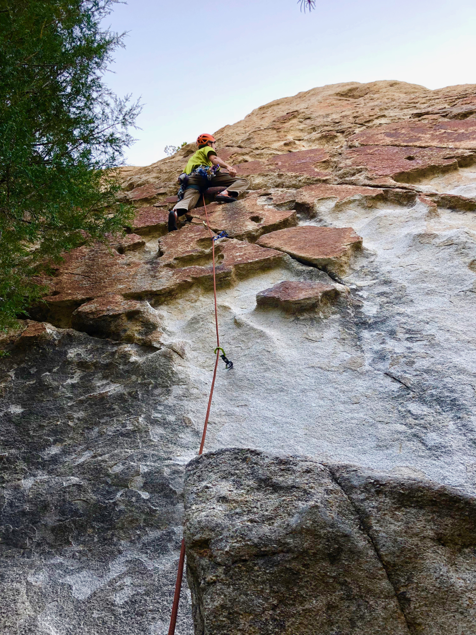 On Short Circuit (5.10a) in the Inner City. Bring a selection of small to medium cams to supplement the two bolts on the route.