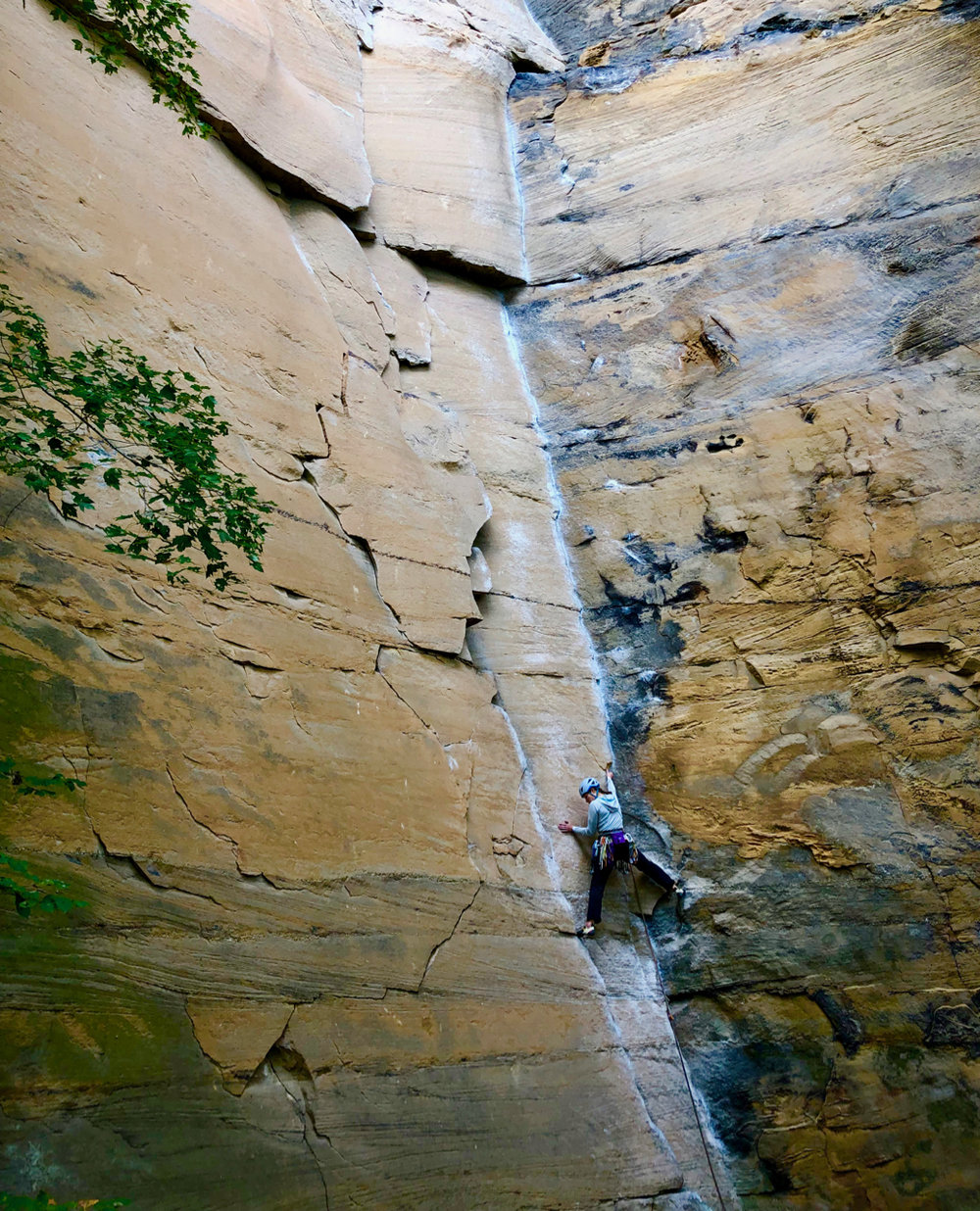 On the superb crack, Rock Wars (5.10-). One of the super classic cracks that should not be missed.
