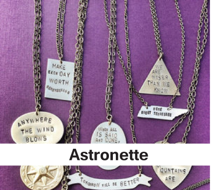 Astronette, metal stamped jewelry, handmade jewelry, handcrafted necklaces