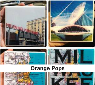 Orange Pops, unique coasters, gifts, coasters, milwaukee coasters