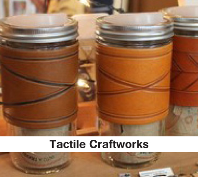 mason jar, glass, flask leather, tooled tactile craftworks