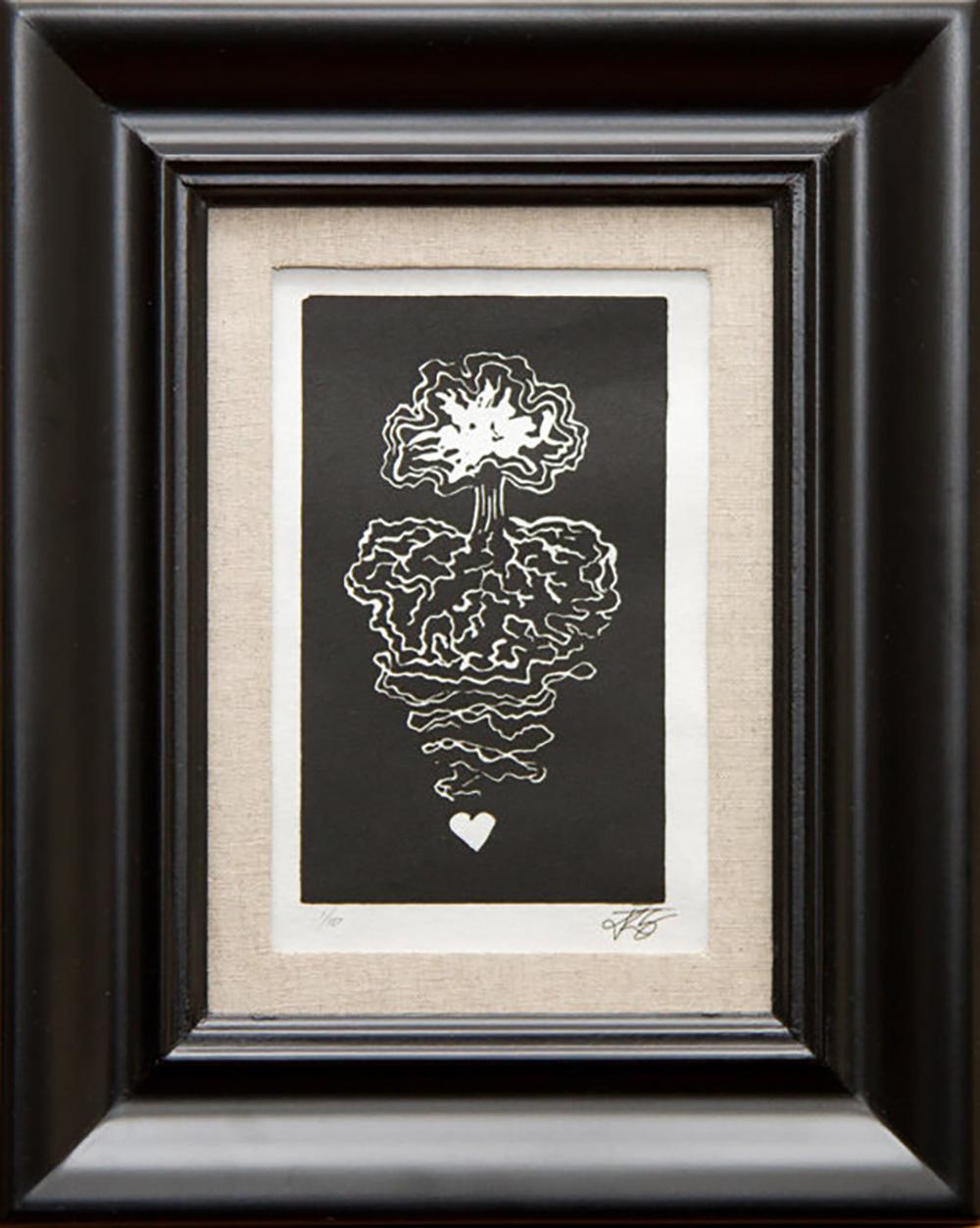 Linocut framed print, $35