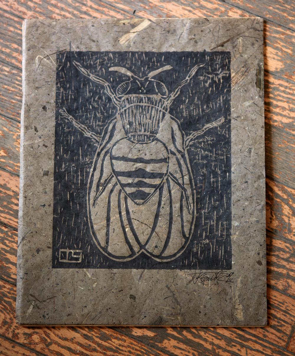 'Fly' Linocut print on banana paper, $25