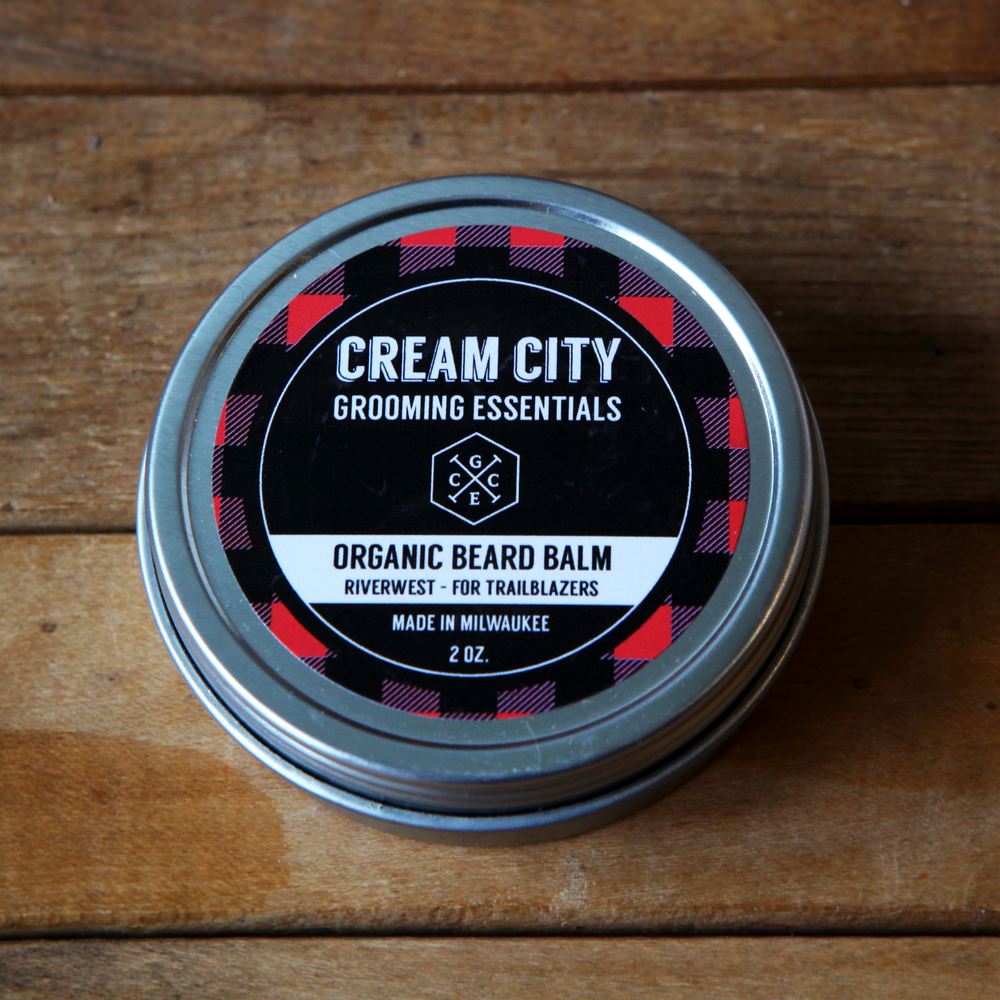 Beard Balm  -  Organic Riverwest  -  For Trailblazers  $15 2oz tin.  $6.50/ .5oz tin.