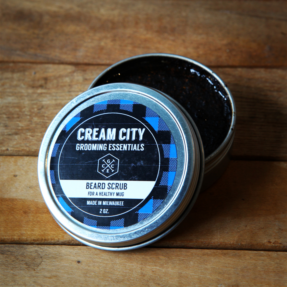 Beard Scrub  -  For a Healthy Mug  -  $15/ 2oz tin, $6.50/ .5oz tin.  Ingredients: Ground coffee, coconut oil, jojoba oil.