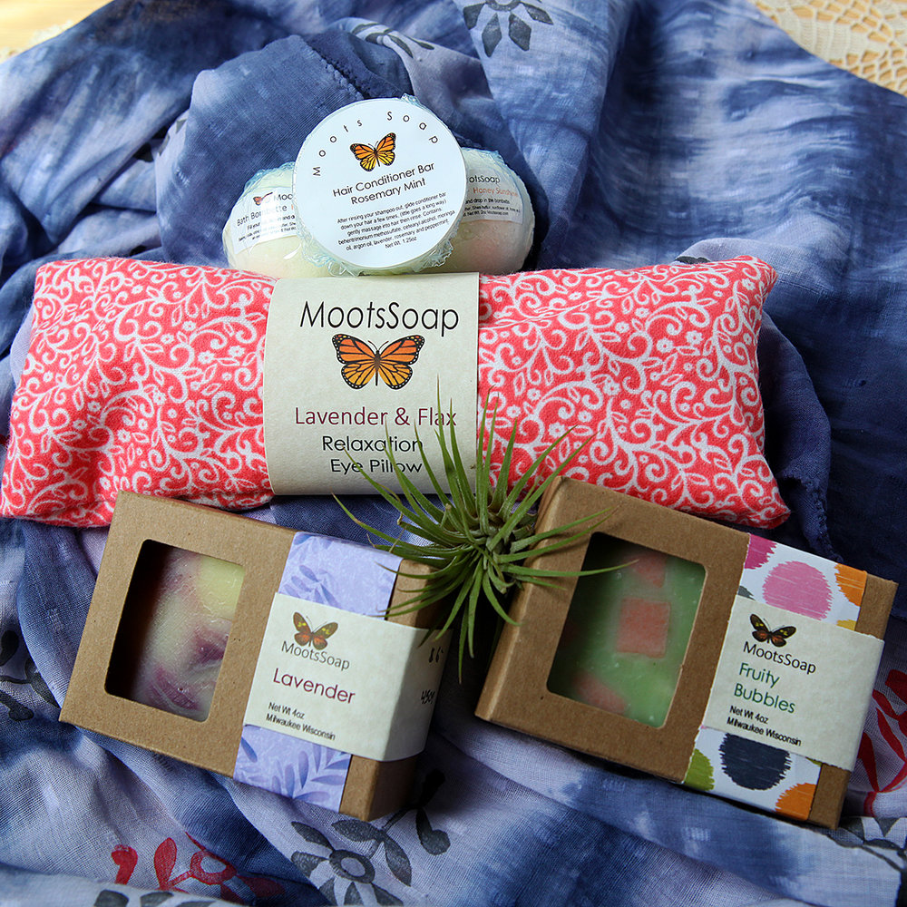 Moots Soap bath collection.  Soaps $7, Relaxation eye pillow $15, Hair conditioning bars $8.