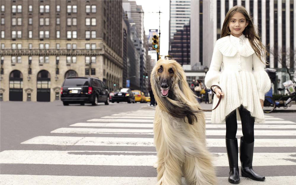 little girl walking a dog nyc wall paper.jpg