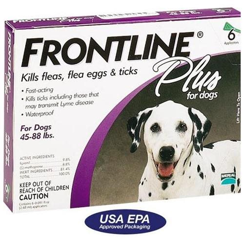 frontline plus dogs 45-88lbs healthy pets