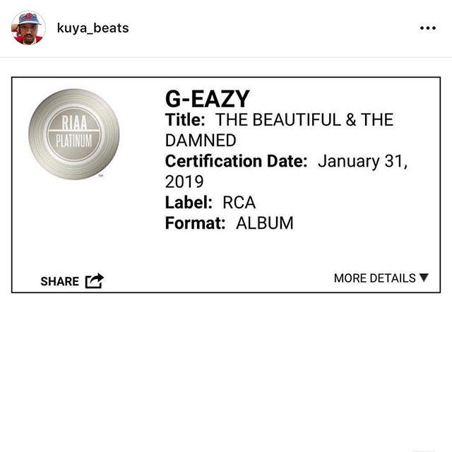 Congratulations @kuya_beats 💔💔💔 @g_eazy #platinumgang #hbkgang
