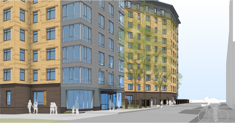 Rendering from Fenwood Road and Binney Street looking toward Brookline Ave.