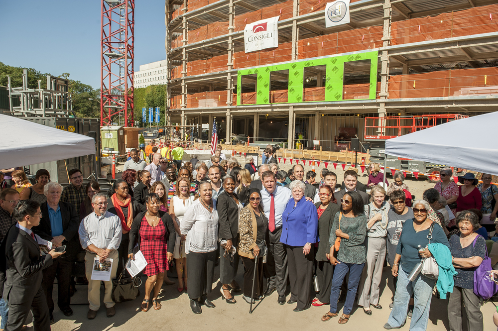 Mayor Walsh joined us for a topping off event at Mosaic earlier this year.