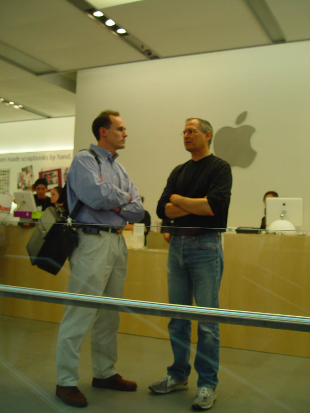 Steve Jobs, opening of the NYC Soho Apple store 2002, it was amazing to meet the man in person if only quickly. I was writing for Desktop Magazine at the time.