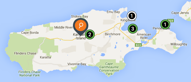 ChargePoint locations on Kangaroo Island