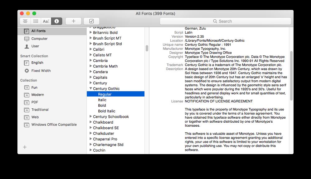 Mac OS Font Book