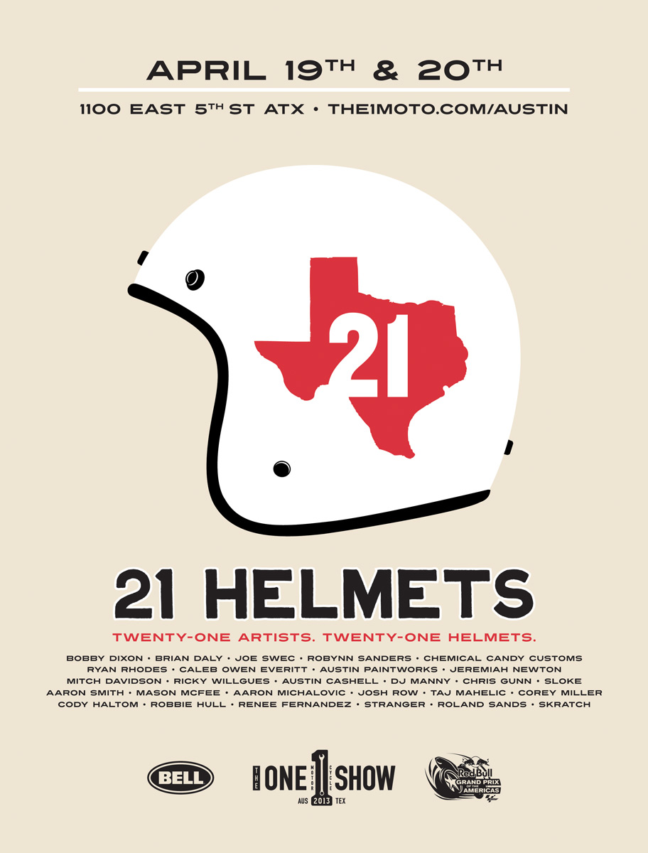 21 Bel Helmets customized by 21 Texan artists.