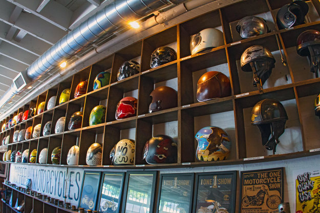21 HELMETS THAT LIVE ON THE SHELVES OF SEE SEE MOTOR COFFEE CO. PDX