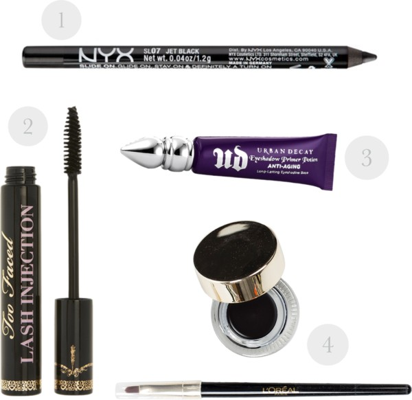 "1. NYX Slide-On Eyeliner Pencil in ""Jet Black"" 2. Too Faced Lash Injection 3. Urban Decay Anti-Aging Eyeshadow Primer Potion 4. L'Oreal Infallible Gel Lacquer Eyeliner 24 Hour in ""Blackest Black"""