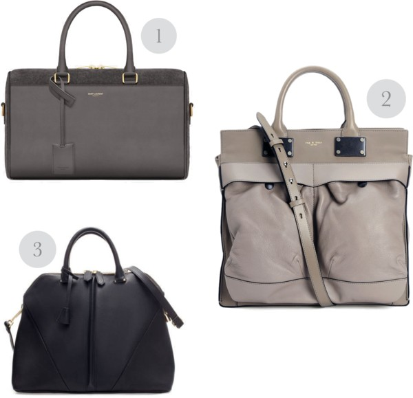 1. Saint Laurent  Classic Duffle 6  in Earth 2. Rag & Bone  Large Pilot  in Fawn 3. Zara  City Bag  in Black