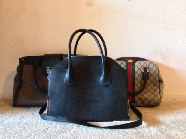 Left to right: Romeo +Juliet Couture Handbag, purchased from Marshall's for $34.99.  H&M Handbag $34.95 Vintage Gucci, thrifted for $45.