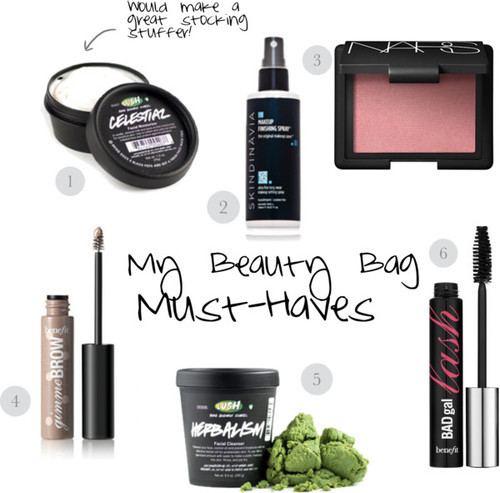 "1. Celestial Moisturizer, LUSH cosmetics, $24.95 2. Makeup Finishing Spray, Skindinavia, $29 3. Blush in ""Deep Throat,"" NARS, $29 4. Gimme Brow, Benefit Cosmetics, $22 5. Herbalism cleanser, LUSH cosmetics, $13.95 6. BAD gal Lash mascara, Benefit cosmetics, $19"