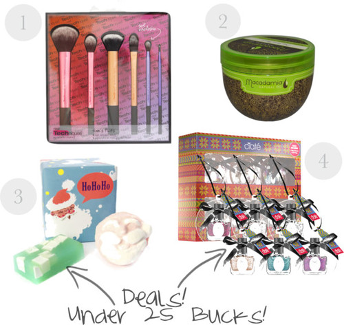 "1. Real Techniques  Sam's Picks Brush Set , $30 2. Macadamia Oil  Deep Repair Mask , $16 3. LUSH  ""Ho Ho Ho"" Bath Set , $14.95 4. Ciate  Tree Trinkets Polish , $21"